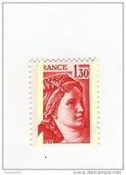 Sabine 1.30fr Rouge YT 2059c Avec Bandes Phospho Blanchâtres à Cheval . Superbe , Voir Le Scan . Cote YT : 10 € . - Abarten: 1970-79 Ungebraucht