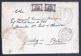 Carta Comando Distrital De Lisboa Legião Portuguesa Stamps Templo Romano Évora 1941. Terço Infantaria Oeiras. 2ª Guerra - Historical Documents