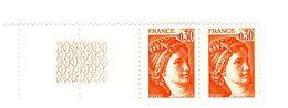 Sabine 0.30fr Orange YT 1968g En Paire Bord De Feuille Guilloché . Superbe Et Pas Courant , Voir Le Scan . Cote YT : 3 € - Abarten: 1970-79 Ungebraucht