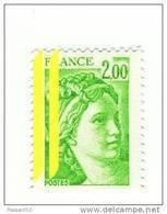 Sabine 2fr Vert Jaune YT 1977c Avec 2 Bandes à Gauche . Superbe , Voir Le Scan . Cote YT : 15 € , Maury N° 1977d : 9 € . - Varietà: 1970-79 Nuovi