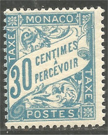 630 Monaco 1905 Yv 7 Taxe Postage Due 30c Bleu MH * Neuf (MON-340) - Segnatasse