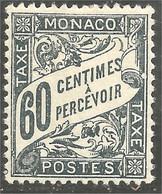 630 Monaco 1926 Yv 21 Taxe Postage Due 60c Gris-noir MH * Neuf CH Légère (MON-352) - Segnatasse