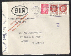 FRANCE Letter 1943 PARIS To Antwerp (Belgium) With German Censor Marks - Covers & Documents