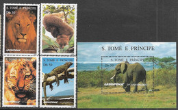 St Thomas & Principe  Sc#1237-41  1996   Greenpeace Animals Set/souv Sheet  MNH  2016 Scott Value $19.25 - Sao Tome And Principe