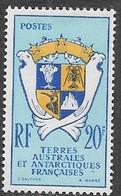 FSAT  1959   Sc#15   20fr  Coat Of Arms  MLH  2016 Scott Value $18 - Unused Stamps