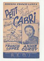 ANNIE CORDY Partition PETIT CABRI Editions FRANCIS LOPEZ Samba En 1954 - Scores & Partitions