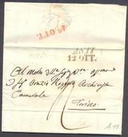 1838 PREFILATELIA LETTERA DA ASTI - ROCCA D'ARAZZO - A TORINO TASSATA - 1. ...-1850 Prefilatelia
