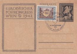 Carte Entier Postal Ganzsache Postkarte Europäischer Postkongress Wien 1942 + Stamp - Stamped Stationery