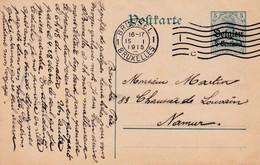 Carte Entier Postal Bruxelles à Namur - Ocupación Alemana