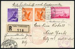 Probefahrt LZ 129 Hindenburg Nach USA, Sieger 405, R-Karte Mit F14+ U. R-Brief Mit F15+ Nach New York, Beide Belege Hand - Air Post