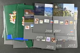 Jahreszusammenstellungen 1996-2017+2019 **, Frankaturwert N.A.ca. SFr. 1250.- (?)1996/20190 - Unused Stamps
