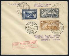 Schleppsegelflug Milano-Arosa, Ab San Marino (nur 11befS) U. Ab Vatikan (27 BefS), SLH 2300.-33.1cSM+.1cV (2)0 - First Flight Covers
