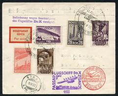 DO-X-Flug Passau-Schweiz, Ab Russland Mit Reiner UdSSR-Frankatur, SLH 1600.-, Dazu Unberechnet 2 Weitere DO-X-Belege33.9 - First Flight Covers