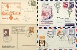 BALLONPOST: Umfangreicher Posten Rund 480 Belege, Mit U.a. Ansichtskarte 1910 Mit Ballonmotiv, Hochalpine Ballonflüge Mü - Other Documents