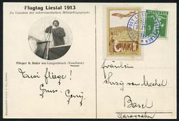 Vorläufer Bern, Burgdorf U. Liestal Je Auf Offizieller Flugkarte, Liestal Mit Att. Bohler, SBK 2680.-III, IV, VIII (3)0 - Unused Stamps