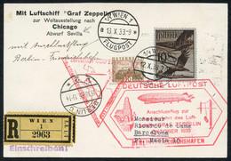 Zuleitungspost Ab Österreich Für Chicago-Fahrt 1933: 3 Saubere Belege Abwurf Sevilla, Abwurf Akron U. Akron 2. Landung,  - Aéreo