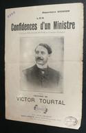 """Chanson Paroles, """"Les Confidences D'un Ministre"""", Victor Tourtal Francis Dufor Dickson, Illustrée - Scores & Partitions"""