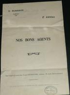 """Rare Ancienne Chanson Avec Paroles, """"Nos Bons Agents"""", D. Bonnaud, Tournayre - Scores & Partitions"""