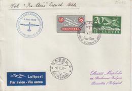 """SUISSE : PA . OBL . """" BASEL 2 """" .  VOL PRO - AERO ZURICH BALE . POUR LA BELGIQUE . 1939 . - Briefe U. Dokumente"""