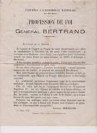 Profession De Foi (d'époque) Du Général BERTRAND H.G, Du 1er Empire Sous NAPOLEON 1er _ 1874 - Historical Documents
