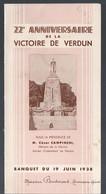 (guerre 14-18)  Menu Du 22e Anniversaire De La Victoire De VERDUN   (19 Juin 1938 )  (PPP28841) - Menus