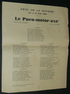 """Rare Chansonnette D'Albert Lecomte Avec Paroles, """"Le Pneu-Motor-Axe"""", Doc Pour La Fête De La Ratière 1938, Romorantin 41 - Scores & Partitions"""