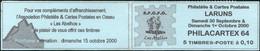 FRANCE - CARNET PRIVÉ 5 TP MARIANNE DU 14 JUILLET 0,10F - SALON PHILACARTEX 64 À LARUNS 30.09/01.10.2000 (couv. Bleue) - Kerstmis
