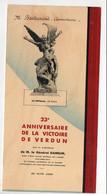 (guerre 14-18)  Menu Du 25e Anniversaire De La Victoire De VERDUN   (25 Juin 1939 )  (PPP28843) - Menus