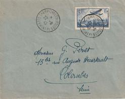 Cad Temporaire CHAMPIONNAT De BOULES CLERMONT Fd 22 08 43 Pour Colombe Sur 1,50 Fr PA Y&T 9. - WW II