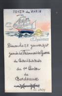Bordeaux : Menu Illustré Home-made JOURNEE DES PRISONNIERS DE GUERRE 28 Janvier 1945 (PPP28845) - Menus