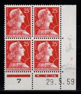 Coin Daté - Muller YV 1011C N** Coin Daté Du 29.5.59 , 3 Points - 1950-1959