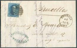 N°15 - Médaillon 20 Centimes Bleu, Obl. à 8 Barres P.120 S/lettre DeTOURNAYle 24-6-1863 Vers Bruxelles. Belle Fraîcheu - 1863-1864 Medallions (13/16)
