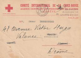 COMITE CROIX ROUGE AGENCE DES PRISONNIERS GENEVE Pour Valence (Drome); Stalag XVII A Censure 14 1 41 - WW II