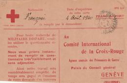 RECHERCHE MILITAIRE DISPARU CROIX ROUGE  De CEAUX D'AX à GENEVE - WW II