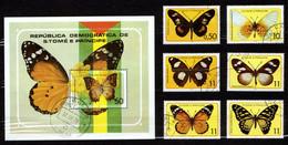 St. Tome & Principe 1979 Mi 561-566, Sheet 32 Butterflies - CTO - Sao Tome Et Principe