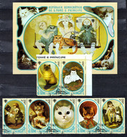 St. Tome & Principe 1981 Mi 730.A-736.A, Sheet 77.A Cats - CTO - Sao Tome Et Principe