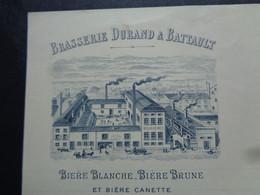 THEME BIERE - FACTURE - 71 - CHALONS/SAÖNE1896 - BRASSERIE DURAND & BATTAULT : BIERE BLANCHE, BRUNE & CANETTE - Beer