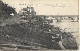 42 CPA ROANNE BORD DE LOIRE 1904 LES DRAGUEURS PENICHES - Roanne