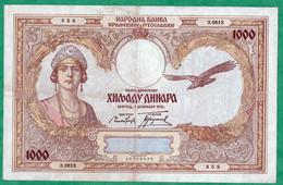 YOUGOSLAVIE - BILLET DE 1000 DINARA 1931 - N° 3.0613 - 658 - Yugoslavia