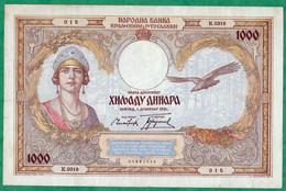 YOUGOSLAVIE - BILLET DE 1000 DINARA 1931 - N° K.0319 - 015 - Yugoslavia