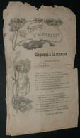"""Rare Chansons D'Albert CADOU, Paroles, """"Réponse à La Maman"""", Illustration Art Nouveau - Scores & Partitions"""
