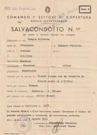 MENTON Occupation Italienne SALVACONDOTTO  De Menton à Cannes. COMMANDO PRESIDIO MENTONE CENSURE - Guerra Del 1939-45