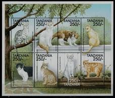 TANZANIA  1999 CATS MINI SHEET MNH VF!! - Raubkatzen