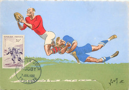 CARTE MAXIMUM N°083011  LE RUGBY  JOUEURS 1956 - Rugby