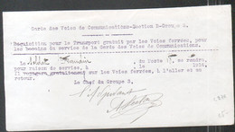 Militaria, Requisition Pour Le Transport Gratuit Des Voies Ferrees, Voies De Communication Section B Groupe 3, 1914 - Documentos Históricos