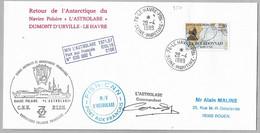 12 - TAAF Timbre France Du 28.4.1989 Le Havre - Divers Cachets ASTROLABE. Signature Du Commandant. - Covers & Documents