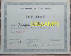 Renaissance Du Lille Ancien (concours Mis En Place En 1965 Pour La Sauvegarde Du Patrimoine Lillois ) Mairie Immobilier - Diplômes & Bulletins Scolaires