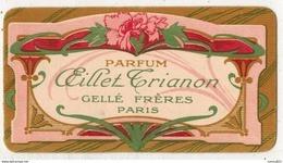 CARTE PARFUMEE PUBLICITAIRE  CHROMO PARFUM OEILLET TRIANON PUBLICITE GELLE FRERES A PARIS - Profumeria Antica (fino Al 1960)