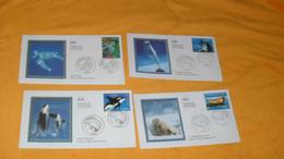 LOT 4 ENVELOPPES FDC DE 2002../ SUNSET..LE PHOQUE VEAU MARIN, DAUPHIN A LONG NEZ, TORTUE LUTH, ORQUE EPAULARD..CACHETS + - 2000-2009