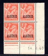 ALGÉRIE YT-N°: 236 - IRIS, Coin Daté Du 14.02.1945, Galvano B De C+B, 3e Tirage, NSC/**/MNH - Unused Stamps